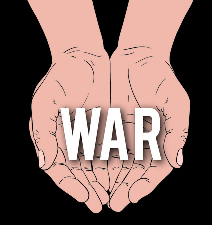 battalion: hands with message: WAR, on a black background