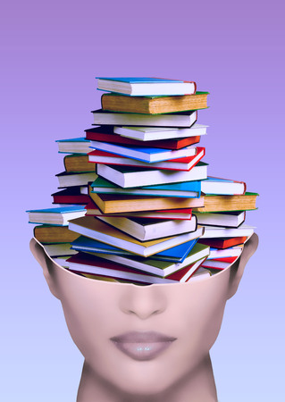 illiteracy: woman with stack of books in the brain on gradient background