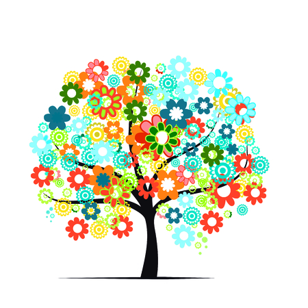 colorful summer tree on white background Stock Photo