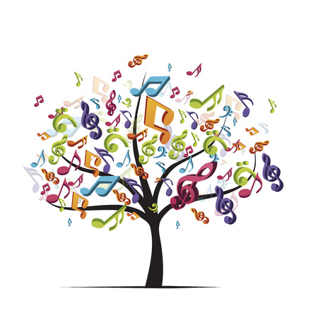 tree with colorful music notes, on white background Stock Photo