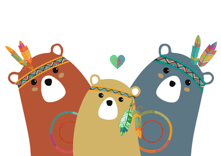 tribal family of colored bears for baby room