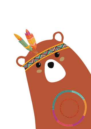 tribal brown bear for baby room