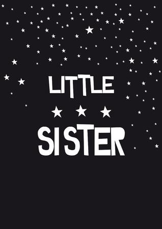 written little sister, phrase on a black background Stock Photo