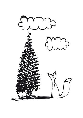 childish illustration of fox on a white background Banco de Imagens