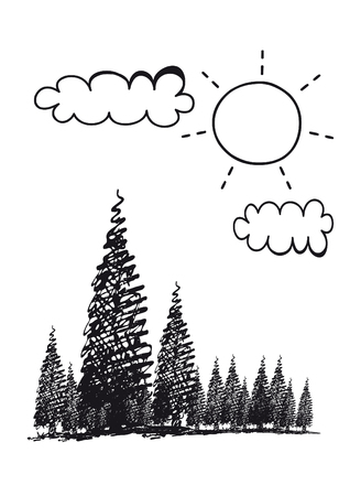 Childish illustration of forest with trees and clouds on a white background