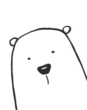 Childish illustration of bear on white background
