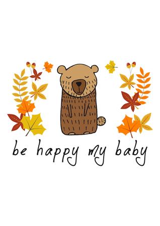 childish illustration of bear on white background Banco de Imagens