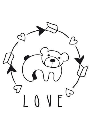 childish illustration of bear on white background Stock Photo