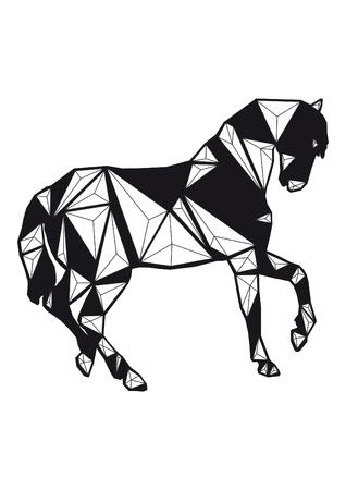 low poly illustration horse Banco de Imagens