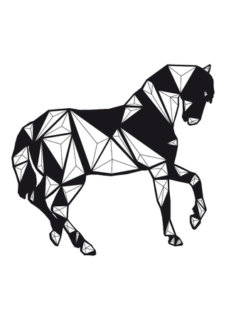 low poly illustration horse Stock Photo