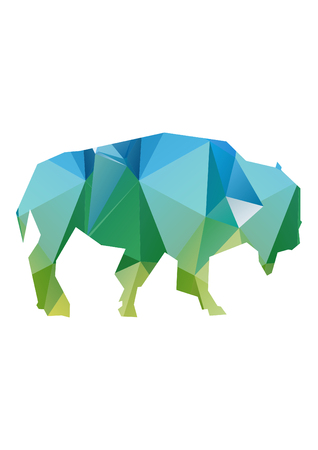 low poly illustration bison Stock Photo