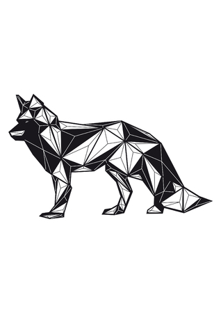 low poly illustration wolf
