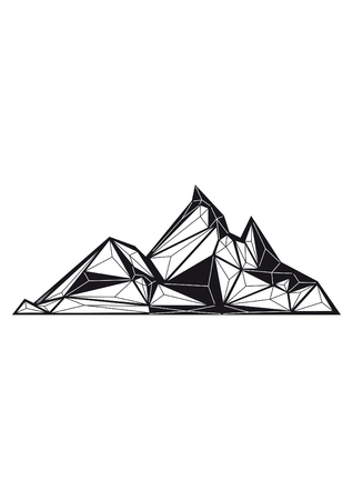 low poly illustration mountain Banco de Imagens