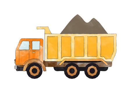 illustration of a orange dump truck Banco de Imagens