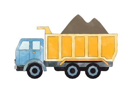 illustration of a blue and orange dump truck Banco de Imagens