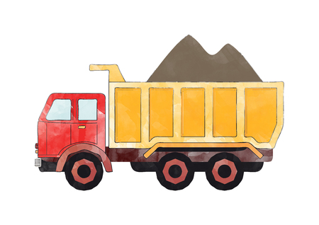 illustration of a red and orange dump truck