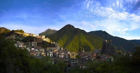 panorama of orsomarso, italy, calabria, pollino park