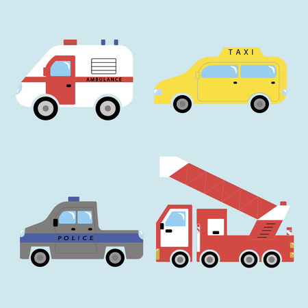 ambulance, taxi, police and fire-fighting vehicle
