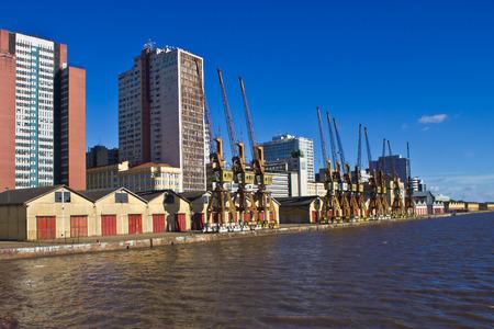 Porto Alegre city view - Port and Guaiba river, Rio Grande do Sul, Brazil.