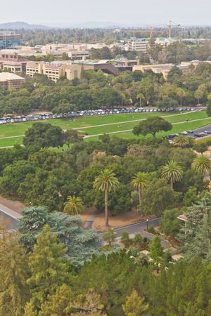 historical buildings: Stanford campus historical buildings and Palo Alto cityscape