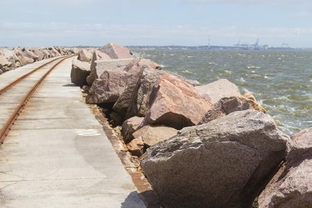 breakwater: breakwater with rio grande port in background Stock Photo