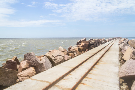 Channel to the ocean using Rio Grande channel and breakwater at Cassino beach