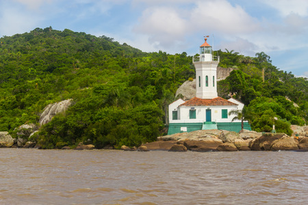 Itapua lighthouse in Guaiba lake, Itapua, Viamao, Rio Grande do Sul Stock Photo