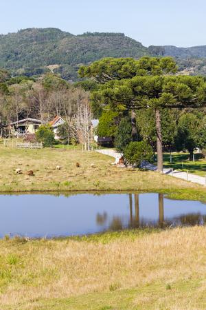 Farm, lake and mountains in Gramado, Rio Grande do Sul, Brazil