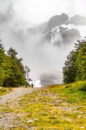 Trail to Glacier Martial trekking, Ushuaia, Argentina Stock Photo