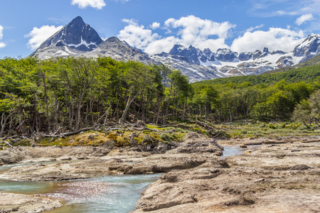 Stream in Laguna Esmeralda trail with  mountains and vegetation, Ushuaia, Patagonia, Argentina Banco de Imagens