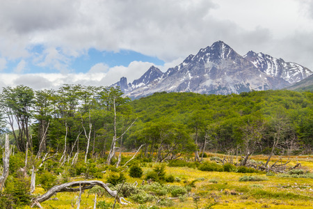 Laguna Esmeralda trail with forest and mountains, Ushuaia, Patagonia, Argentina