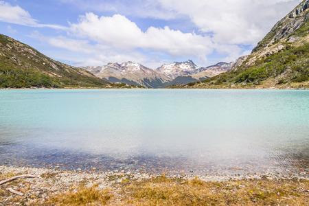 Laguna Esmeralda with  mountains and vegetation, Ushuaia, Patagonia, Argentina Banco de Imagens - 95964030