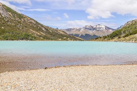 Laguna Esmeralda with  mountains and vegetation, Ushuaia, Patagonia, Argentina