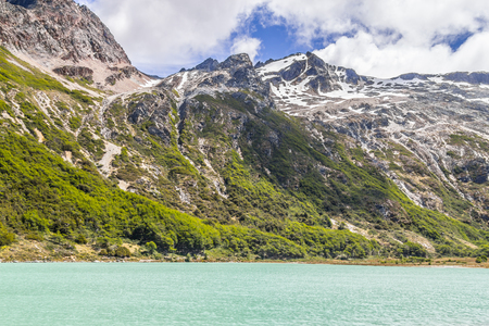 Laguna Esmeralda trail with  mountains and vegetation, Ushuaia, Patagonia, Argentina Banco de Imagens - 95964748