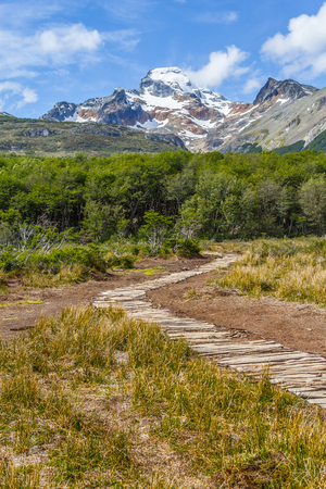 Snow mountains and forest in Laguna Esmeralda trail, Ushuaia, Patagonia, Argentina Banco de Imagens - 95777293