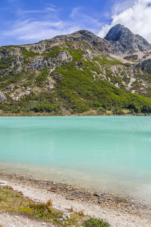 Laguna Esmeralda trail with  mountains and vegetation, Ushuaia, Patagonia, Argentina Banco de Imagens - 95777294
