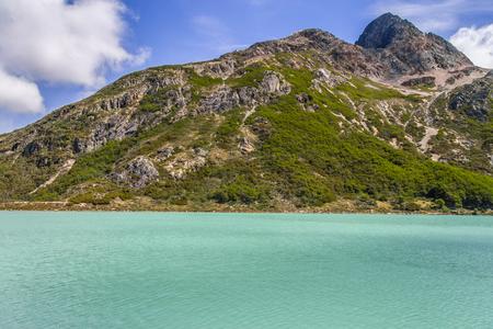 Laguna Esmeralda trail with  mountains and vegetation, Ushuaia, Patagonia, Argentina Banco de Imagens