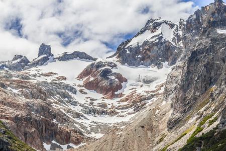 Snow mountains in Laguna Esmeralda trail, Ushuaia, Patagonia, Argentina