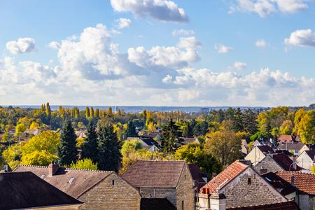 City view of  Auvers-sur-Oise village, France