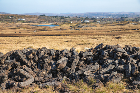 Turf in a Bog with vegetation and farm in background, Clifden, Galway, Conemara, Ireland