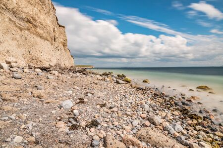 Rocks and cliff in Silverstrand beach, Galway, Ireland