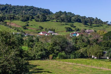 Forest, mountains and farms in Sinimbu, Rio Grande do Sul, Brazil