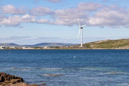 Sunny day in beach and Eolic power in Carraroe, Conemara, Galway, Ireland