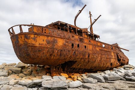 Plassey shipwreck and rocks in Inisheer Island, Galway, Ireland
