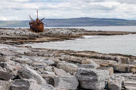 Plassey shipwreck and rocks in Inisheer Island, Galway, Ireland Stock Photo