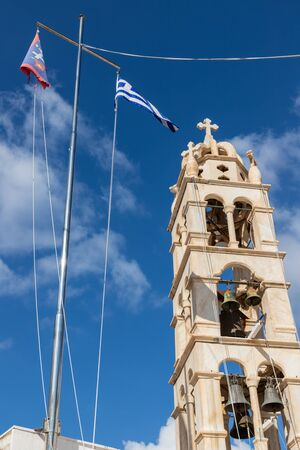 Details of church tower in Hydra Island, Greece
