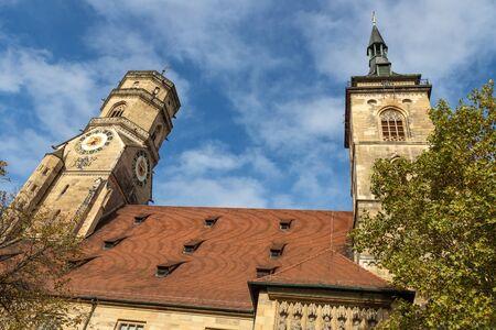 Tower of Stiftskirche evangelical church, Stuttgart, Germany