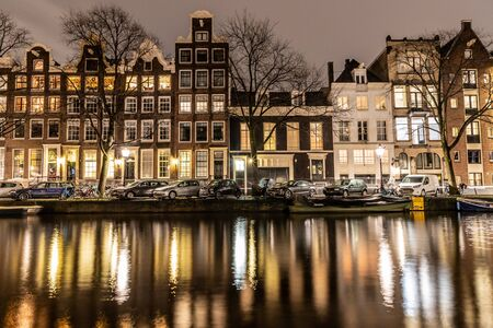 Night lights of building and channels in Amsterdan, Nederlands Stock Photo
