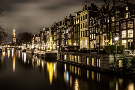 Night lights of channel and biclycles in Amsterdan, Nederlands