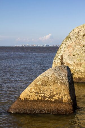 Ilha das Pedras Brancas Island and Guaiba lake with Porto Alegre in background, Rio Grande do Sul, Brazil